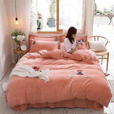 2019新款-加厚牛奶绒毛巾绣四件套 床单款四件套1.8m(6英尺)床 小黄蜂 玉
