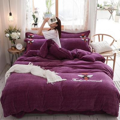 2019新款-加厚牛奶绒毛巾绣四件套 床单款四件套1.8m(6英尺)床 小黄蜂 紫
