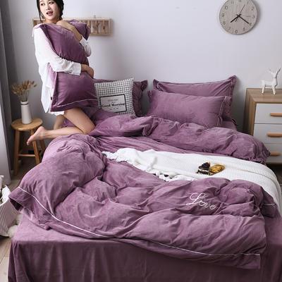 2019新款-水晶绒纯色加厚绣花工艺款四件套 床单款四件套1.5m(5英尺)床 love 豆沙