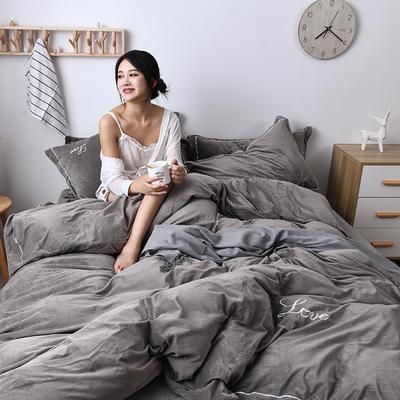 2019新款-水晶绒纯色加厚绣花工艺款四件套 床单款四件套1.5m(5英尺)床 love 灰色
