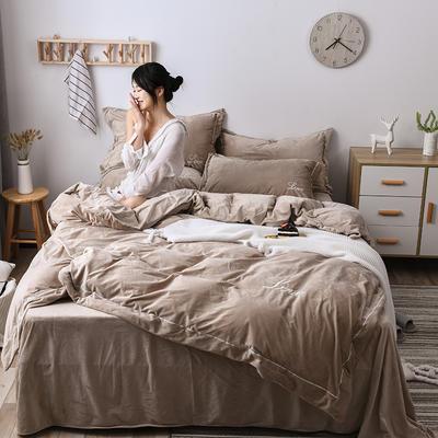 2019新款-水晶绒纯色加厚绣花工艺款四件套 床单款四件套1.5m(5英尺)床 love 灰驼