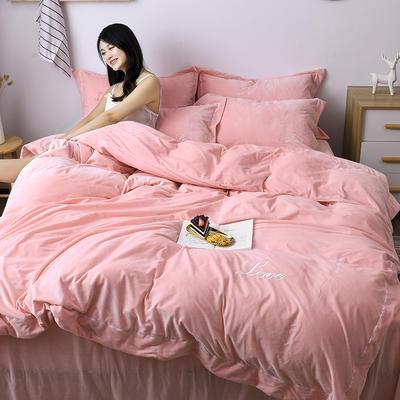 2019新款-水晶绒纯色加厚绣花工艺款四件套 床单款四件套1.5m(5英尺)床 love 玉色