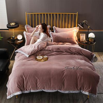 2019新款-水晶绒纯色加厚绣花工艺款四件套 床单款四件套1.5m(5英尺)床 维纳斯 红灰