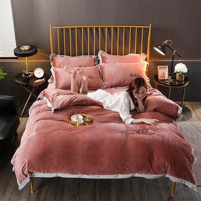 2019新款-水晶绒纯色加厚绣花工艺款四件套 床单款四件套1.5m(5英尺)床 维纳斯 红咖