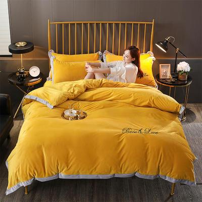 2019新款-水晶绒纯色加厚绣花工艺款四件套 床单款四件套1.5m(5英尺)床 维纳斯 姜黄