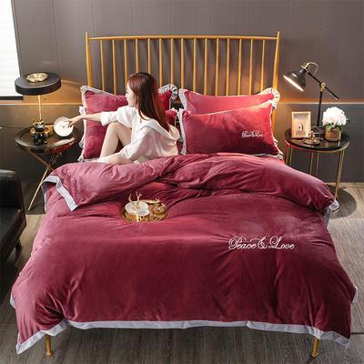 2019新款-水晶绒纯色加厚绣花工艺款四件套 床单款四件套1.5m(5英尺)床 维纳斯 酱红