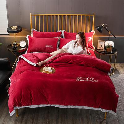 2019新款-水晶绒纯色加厚绣花工艺款四件套 床单款四件套1.5m(5英尺)床 维纳斯 酒红