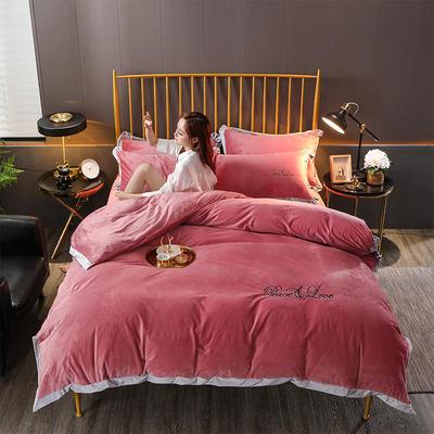2019新款-水晶绒纯色加厚绣花工艺款四件套 床单款四件套1.5m(5英尺)床 维纳斯 浅砖红