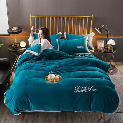 2019新款-水晶绒纯色加厚绣花工艺款四件套 床单款四件套1.5m(5英尺)床 维纳斯 深绿