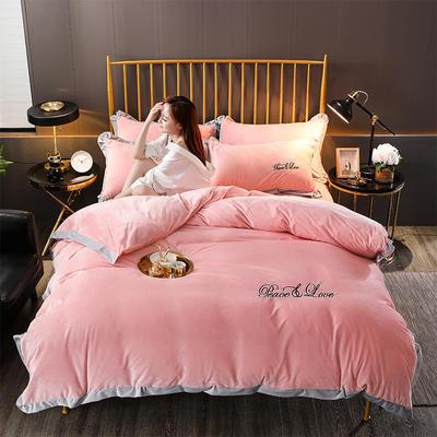 2019新款-水晶绒纯色加厚绣花工艺款四件套 床单款四件套1.5m(5英尺)床 维纳斯 玉