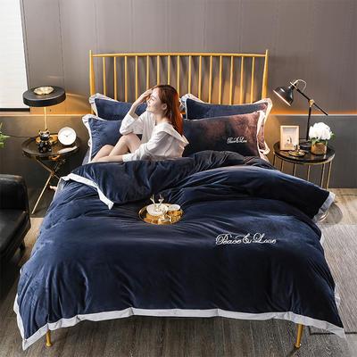2019新款-水晶绒纯色加厚绣花工艺款四件套 床单款四件套1.5m(5英尺)床 维纳斯深兰