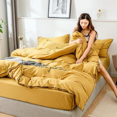 2019新款-60长绒棉绣花四件套 床单款四件套1.5m(5英尺)床 美好时光-姜黄