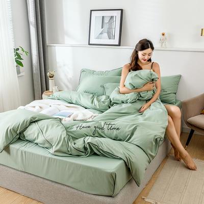 2019新款-60长绒棉绣花四件套 床单款四件套1.5m(5英尺)床 美好时光-军绿