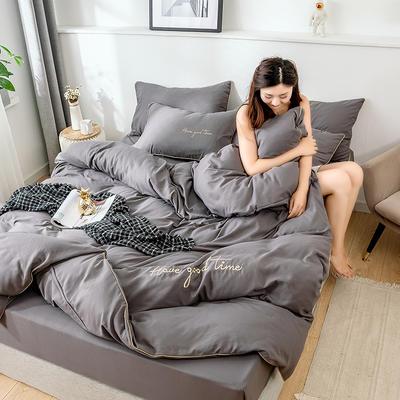 2019新款-60长绒棉绣花四件套 床单款四件套1.5m(5英尺)床 美好时光-深灰