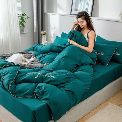 2019新款-60长绒棉绣花四件套 床单款四件套1.5m(5英尺)床 美好时光-深绿
