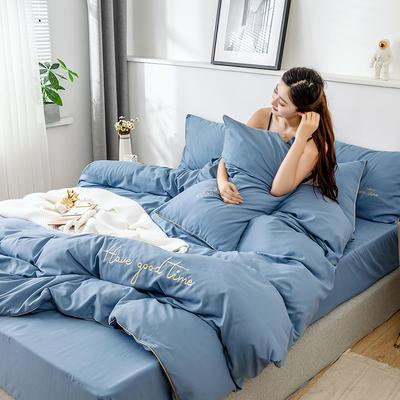 2019新款-60长绒棉绣花四件套 床单款四件套1.5m(5英尺)床 美好时光-天蓝