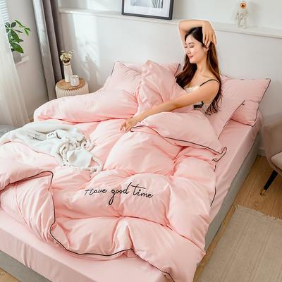 2019新款-60长绒棉绣花四件套 床单款三件套1.2m(4英尺)床 美好时光-玉色