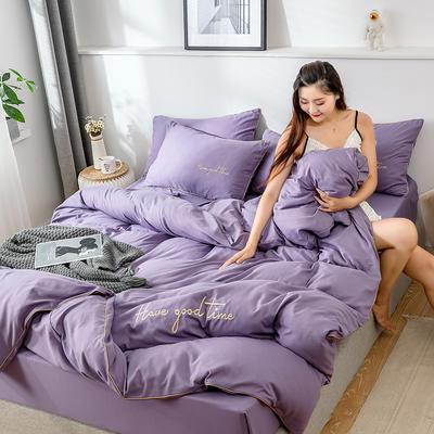 2019新款-60长绒棉绣花四件套 床单款四件套1.5m(5英尺)床 美好时光-紫色