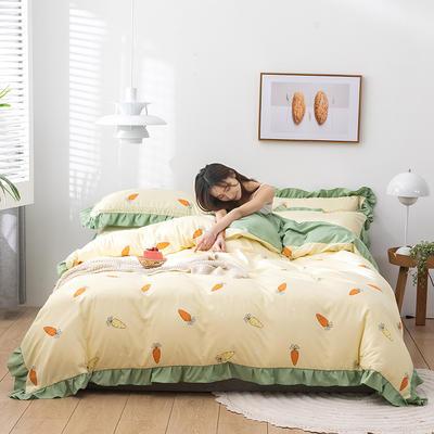 2020新款-韩版印花水洗天丝四件套 床单款三件套1.2m(4英尺)床 胡萝卜(黄)