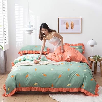 2020新款-韩版印花水洗天丝四件套 床单款三件套1.2m(4英尺)床 胡萝卜(绿)