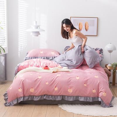 2020新款-韩版印花水洗天丝四件套 床单款三件套1.2m(4英尺)床 南瓜(粉)