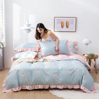 2020新款-韩版印花水洗天丝四件套 床单款三件套1.2m(4英尺)床 南瓜(浅蓝)