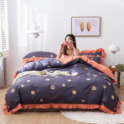 2020新款-韩版印花水洗天丝四件套 床单款三件套1.2m(4英尺)床 南瓜(紫)