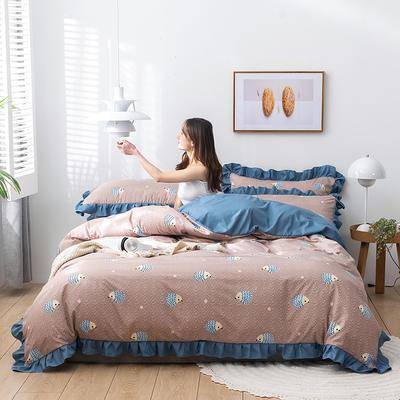 2020新款-韩版印花水洗天丝四件套 床单款三件套1.2m(4英尺)床 小刺猬(浅咖)