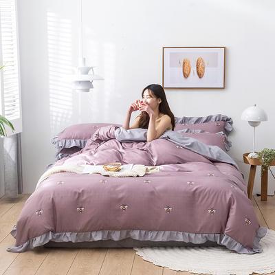 2020新款-韩版印花水洗天丝四件套 床单款三件套1.2m(4英尺)床 小蜜蜂(豆沙色)