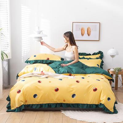 2020新款-韩版印花水洗天丝四件套 床单款三件套1.2m(4英尺)床 小芝麻(黄)