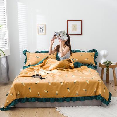 2020新款-韓版夏被印花水洗真絲四件套 床單款夏被四件套1.5m床 胡蘿卜-黃