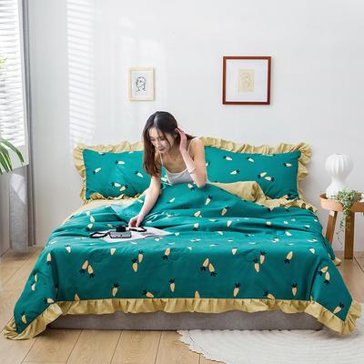 2020新款-韓版夏被印花水洗真絲四件套 床單款夏被四件套1.5m床 胡蘿卜-墨綠