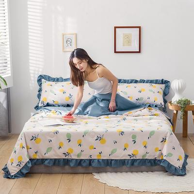 2020新款-韓版夏被印花水洗真絲四件套 床單款夏被四件套1.5m床 檸檬