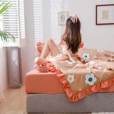 2020新款-韩版夏被印花水洗真丝四件套 床单款夏被四件套1.5m床 太阳花-驼