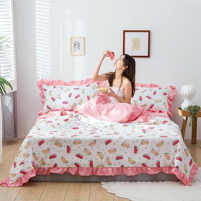 2020新款-韓版夏被印花水洗真絲四件套 床單款夏被四件套1.5m床 小西瓜-白