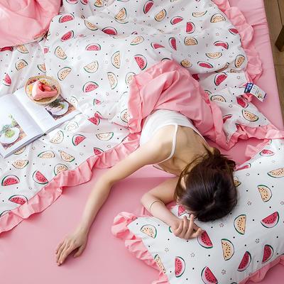 2020新款-韩版夏被印花水洗真丝四件套 床单款夏被四件套1.5m床 小西瓜-白