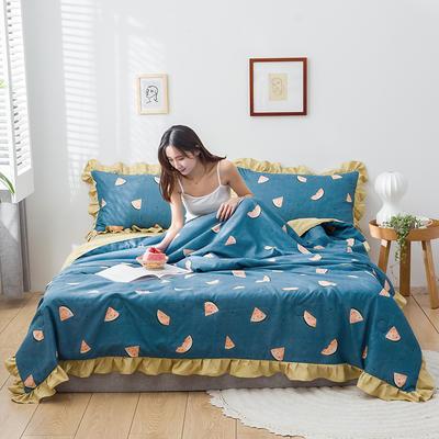 2020新款-韓版夏被印花水洗真絲四件套 床單款夏被四件套1.5m床 小西瓜-藍
