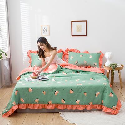 2020新款-韓版夏被印花水洗真絲四件套 床單款夏被四件套1.5m床 小西瓜-綠