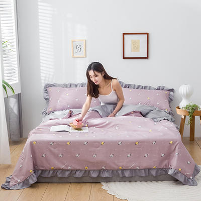 2020新款-韓版夏被印花水洗真絲四件套 床單款夏被四件套1.5m床 星球-豆沙