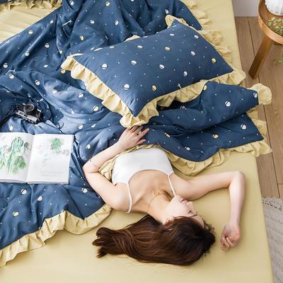2020新款-韩版夏被印花水洗真丝四件套 床单款夏被四件套1.5m床 星球-蓝