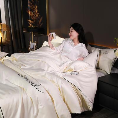 2020新款-双面水洗真丝香栀四件套 床单款三件套1.2m(4英尺)床 香栀··米白