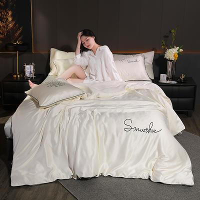 2020新款-雙面水洗真絲香梔四件套 床單款三件套1.2m(4英尺)床 香梔··米白