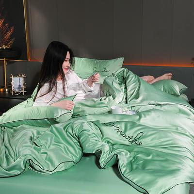 2020新款-双面水洗真丝香栀四件套 床单款三件套1.2m(4英尺)床 香栀··水绿色