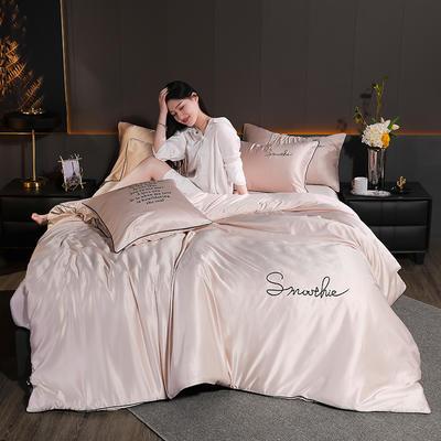 2020新款-雙面水洗真絲香梔四件套 床單款三件套1.2m(4英尺)床 香梔··香檳