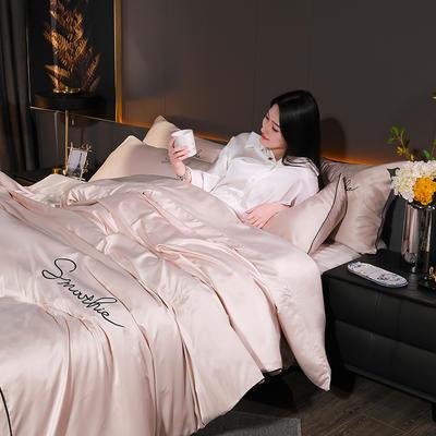 2020新款-双面水洗真丝香栀四件套 床单款三件套1.2m(4英尺)床 香栀··香槟