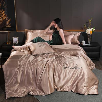 2020新款-雙面水洗真絲香梔四件套 床單款三件套1.2m(4英尺)床 香梔··棕色