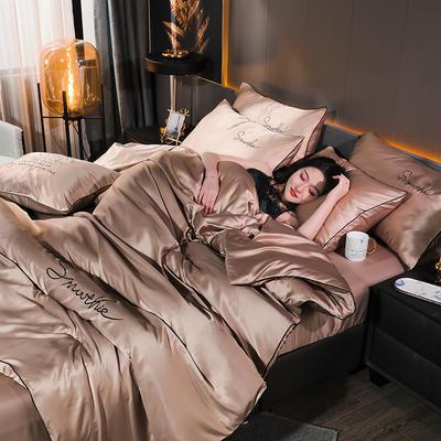 2020新款-双面水洗真丝香栀四件套 床单款三件套1.2m(4英尺)床 香栀··棕色
