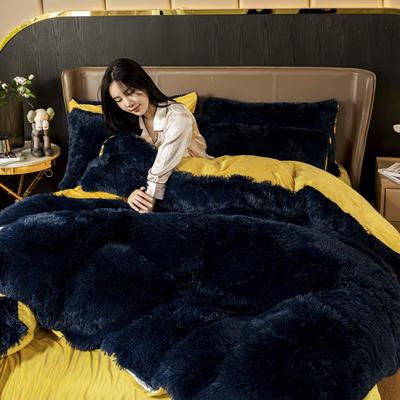 2020新款-水貂绒四件套 1.5m床单款四件套 15深蓝色
