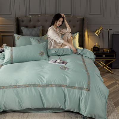 2020新款-天丝提花蕾丝刺绣四件套 1.5m床单款四件套 天丝提花-薄荷绿