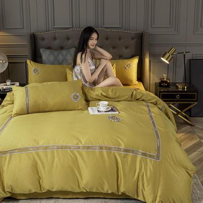 2020新款-天丝提花蕾丝刺绣四件套 1.5m床单款四件套 天丝提花-姜黄